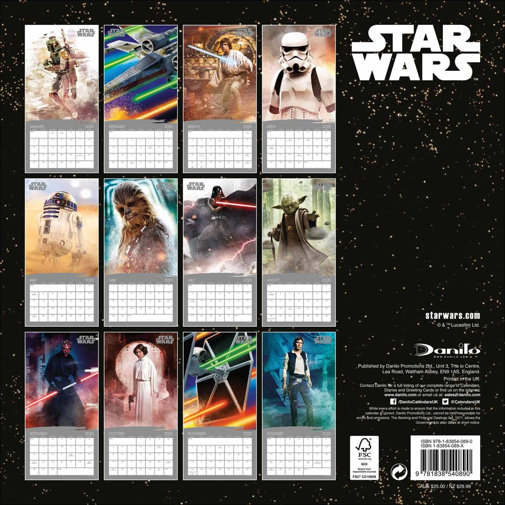Star Wars Classic Gwiezdne Wojny - Oficjalny Kalendarz 2020 rok